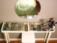 glass top vanity 200x150 Creative Makeup Organization Solutions that will Help you De Clutter