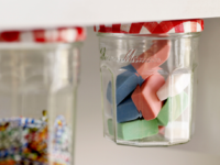 jelly jar storage 200x150 Crafty Ways to Keep Your Desk Organized