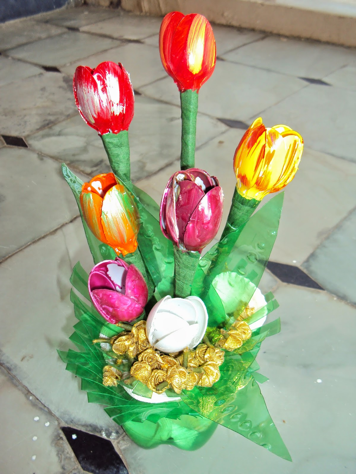 Plastic Spoon Tulips