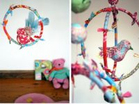 scrap fabric bird mobile 200x150 Adorable DIY Baby Mobiles Made From Upcycled Materials