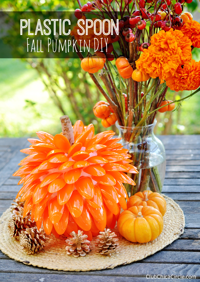Pumpkin crafted from Plastic Spoons