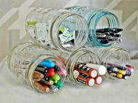 stacked mason jars 200x150 Crafty Ways to Keep Your Desk Organized