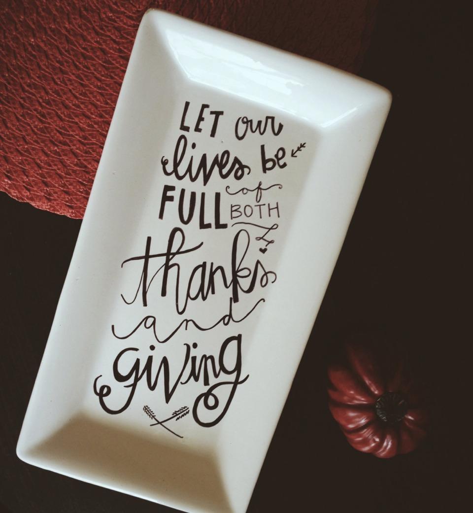 Thanksgiving sharpie plate