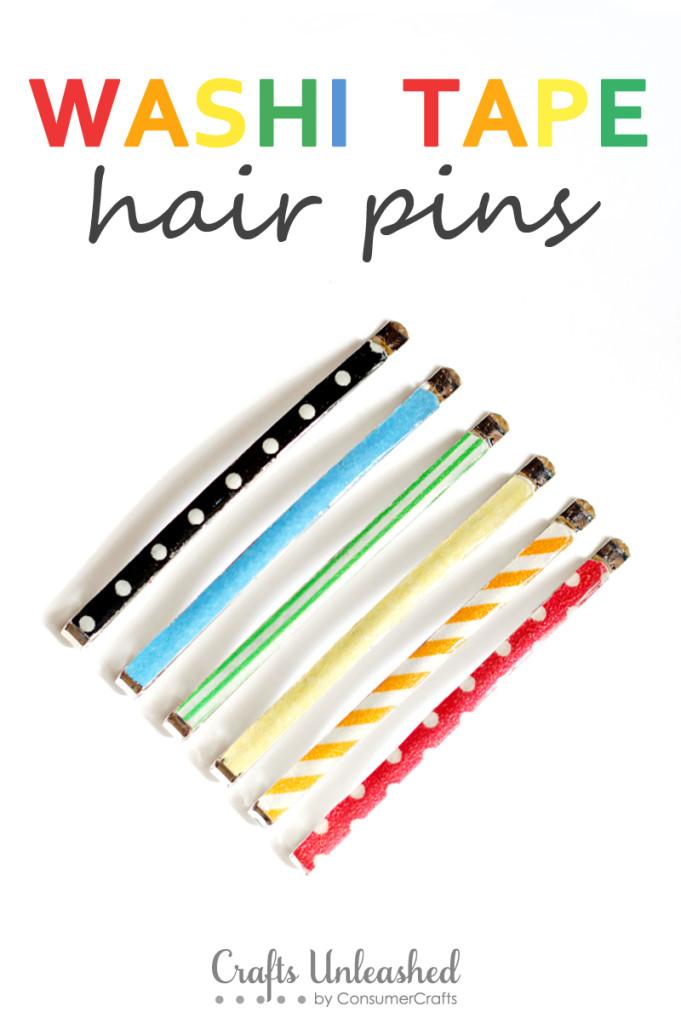 Washi tape hair pins