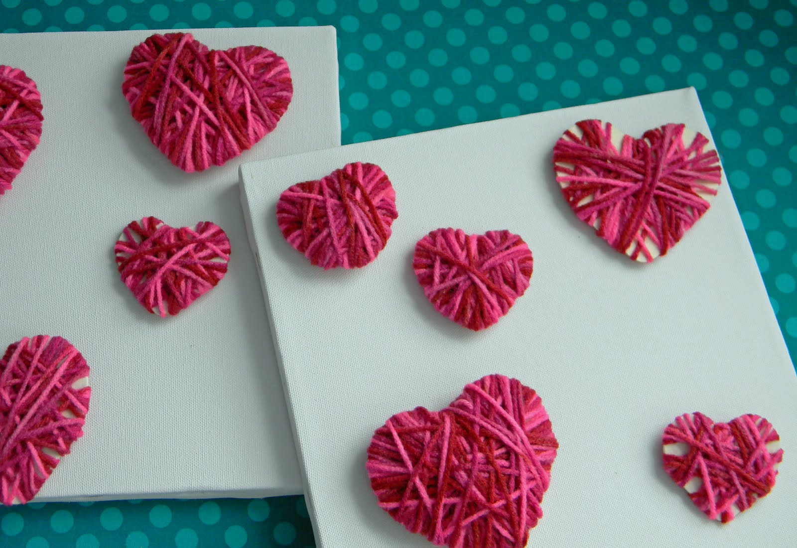 V-Day yarn hearts DIY