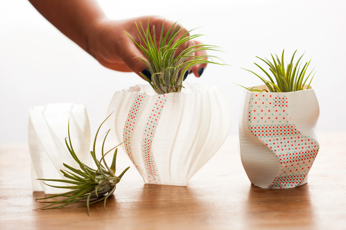 3D printed washi tape vases