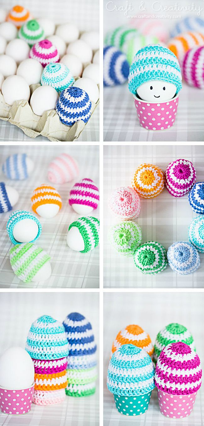 Bright and bold crocheted egg cosies