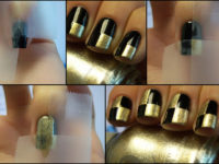 Checker nails 200x150 Dazzling and Dark: DIY Projects for Lovers of Gold and Black!