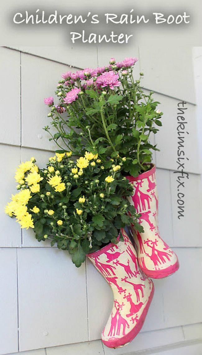 Children's rain boot planters