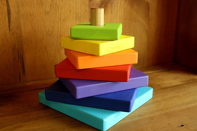 Colorful wooden stacker toy
