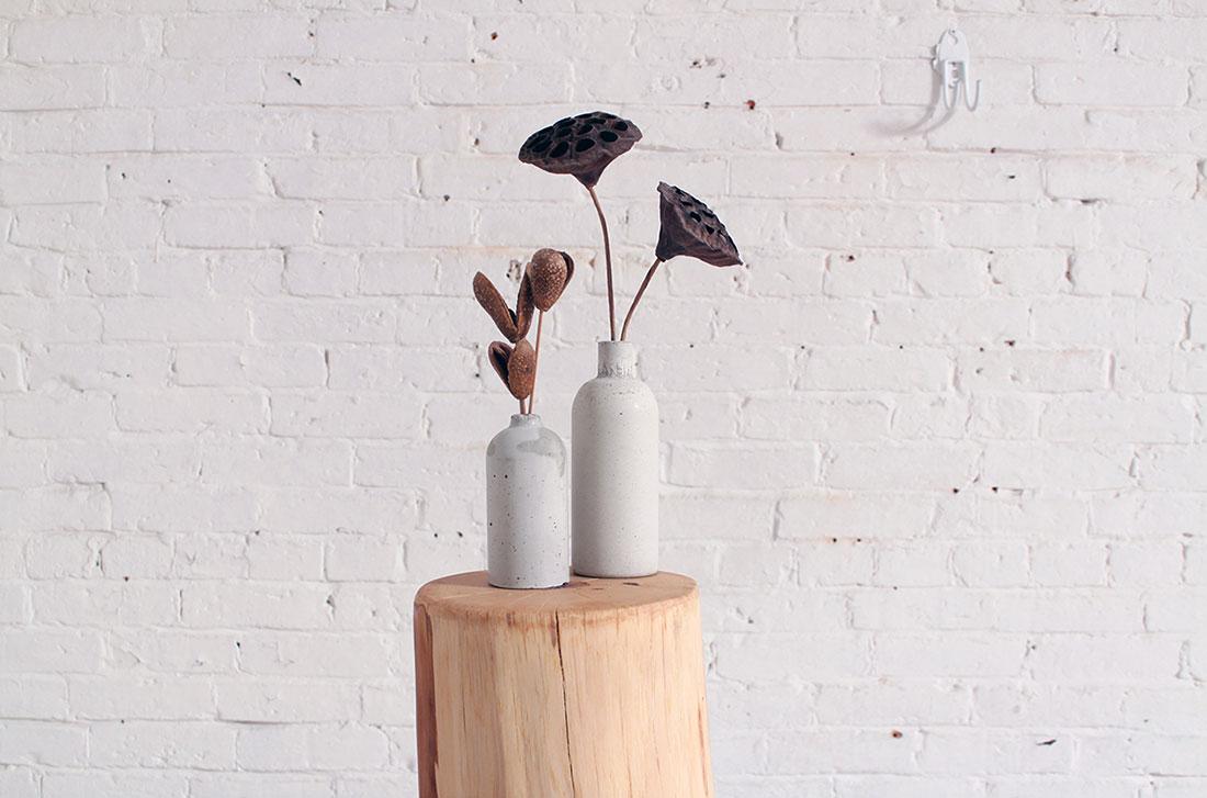Concrete flower bottles