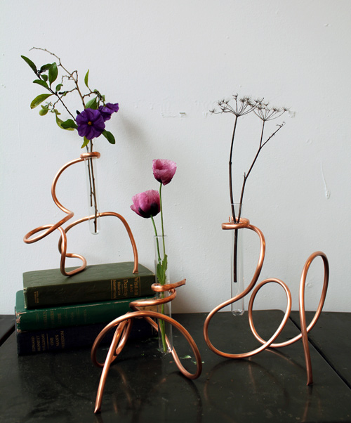 Copper coil vases
