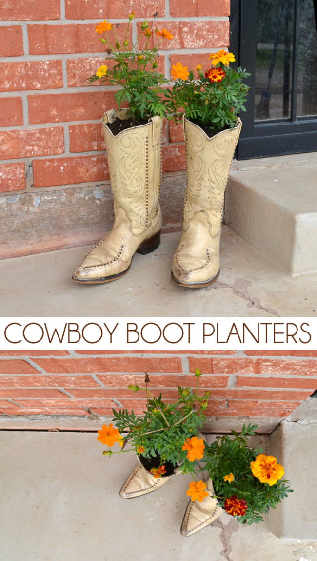 Cowboy boot planters