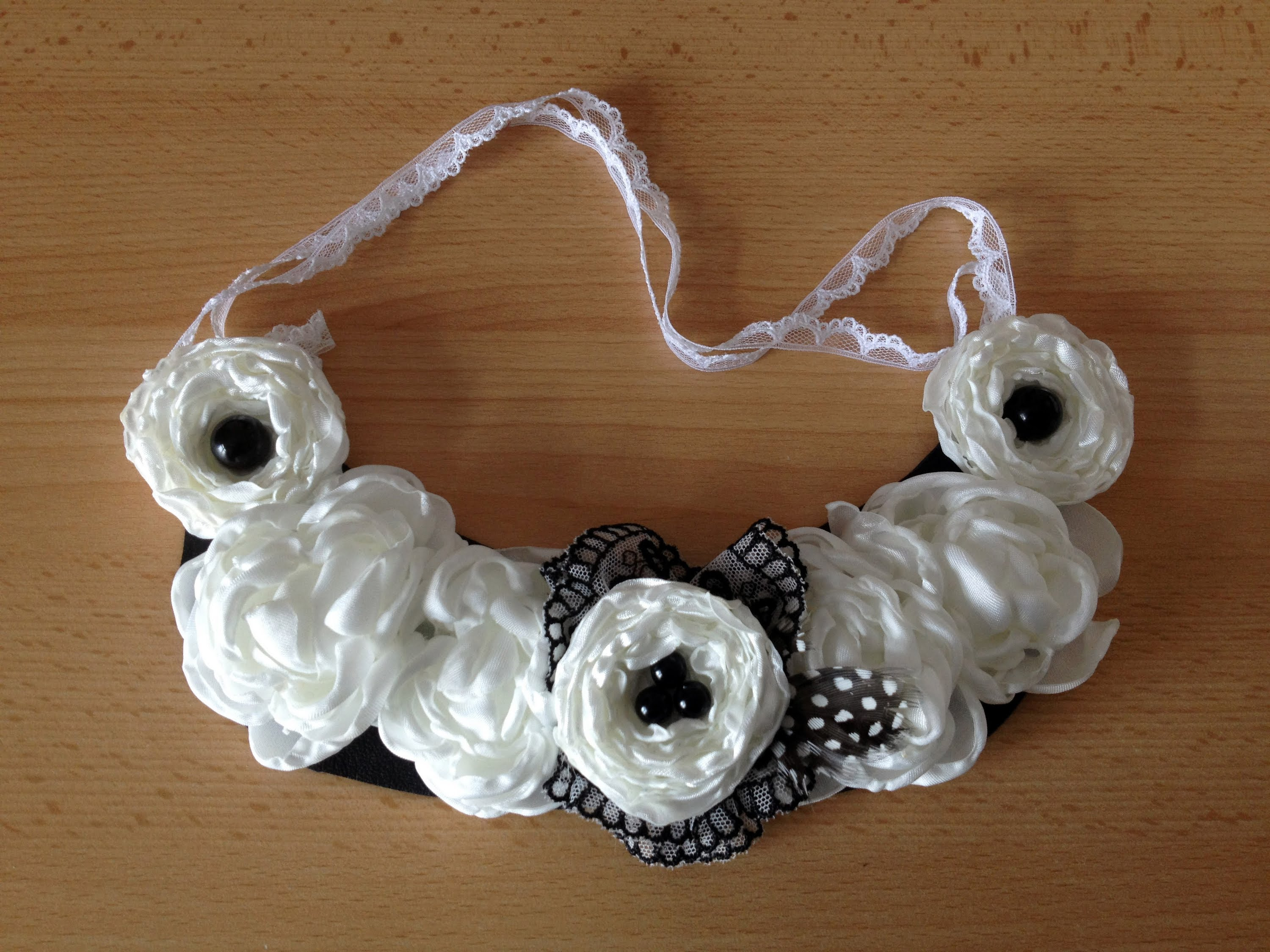 Fabric and lace floral necklace