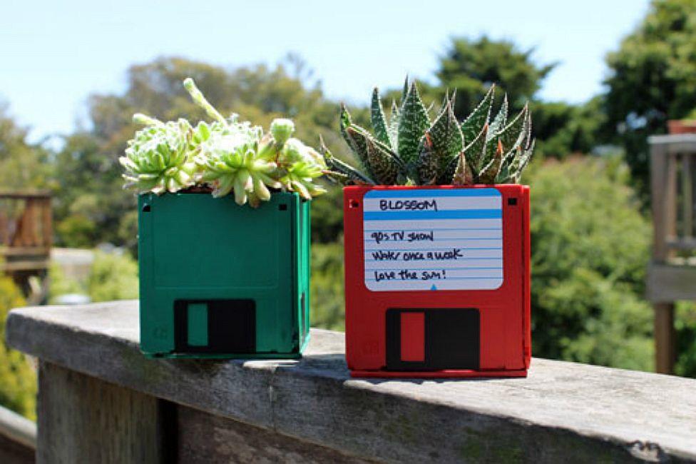 Floppy disk plant pots