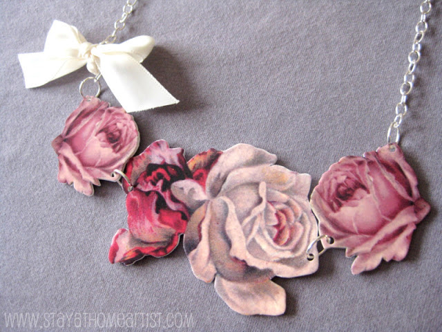 Flowers and bow statement necklace