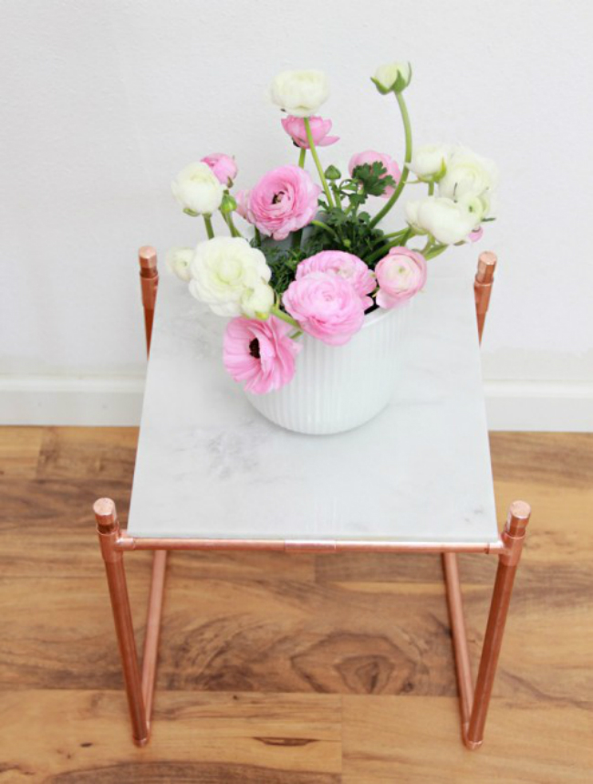 Marble and Copper Plant Stand