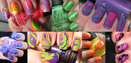 Marbled manicure combinations How to do Marble Manicures