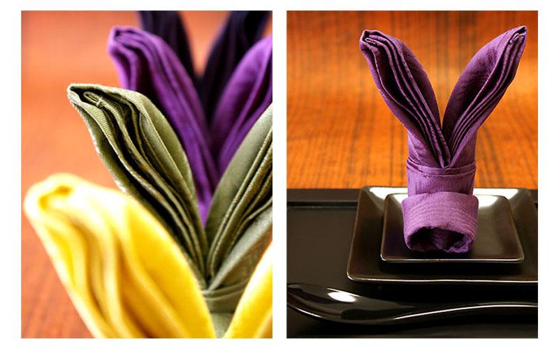 Modern bunny ears napkin