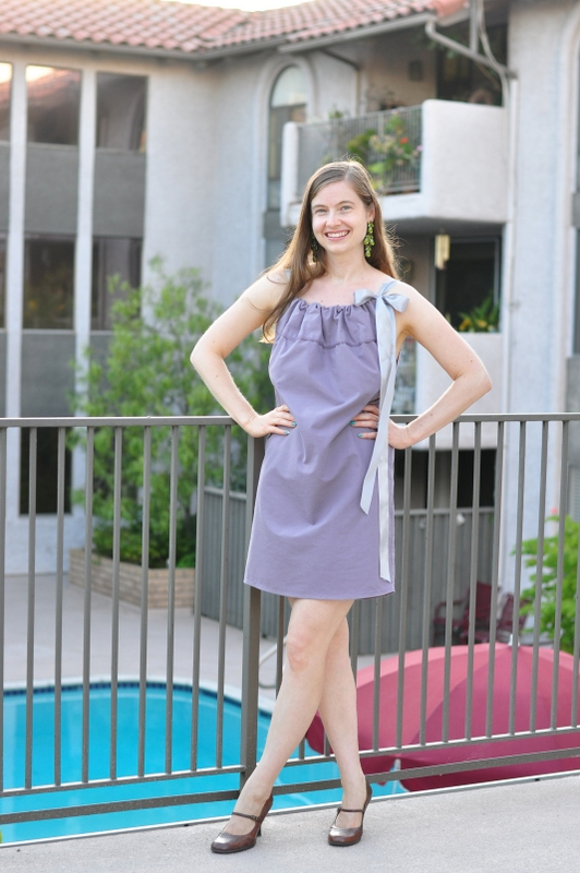 Purple and silver pillow case dress