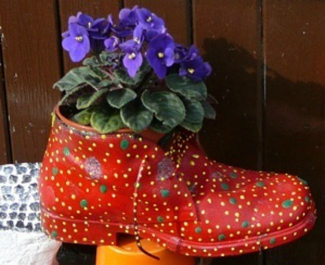 Red Dotted Boot Planter