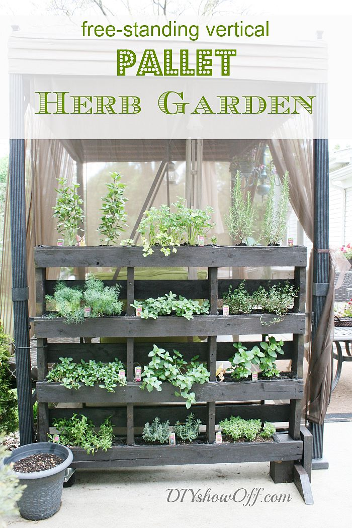 Standing pallet herb garden