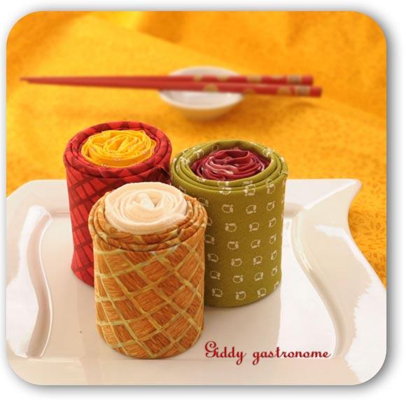 Sushi roll napkins