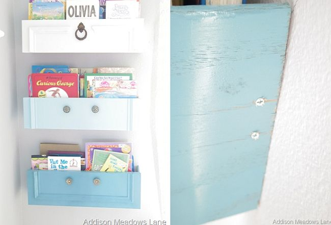 Upcycled drawer bookshelf
