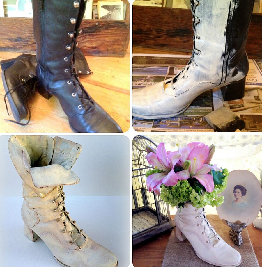 Upcycled vintage boot planter
