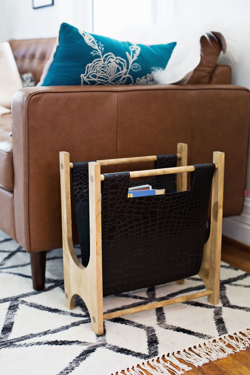 Wood and Leather Magazine Rack