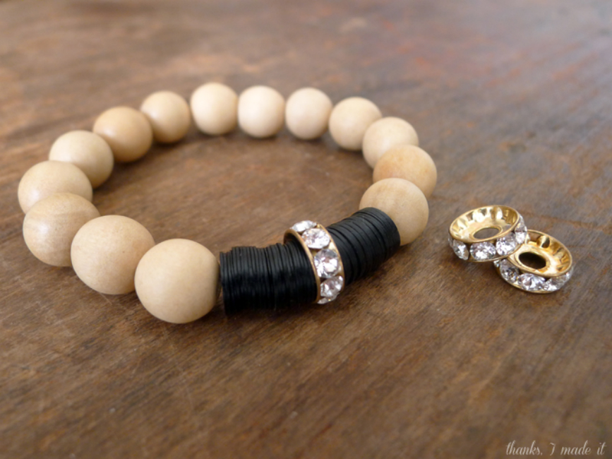 Wooden Beads and Swarovski Bracelet