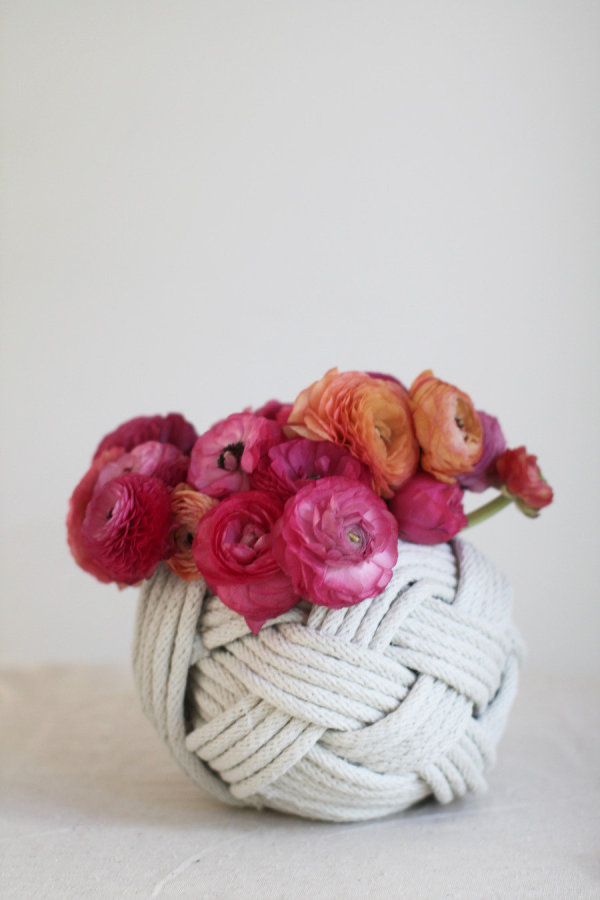 Woven rope vase