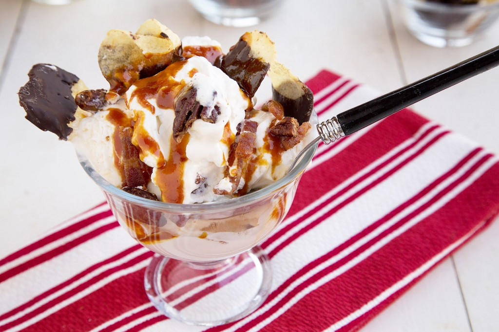 bacon pecan potato chip sundae