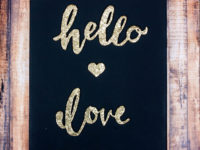glitter words canvas art 200x150 Dazzling and Dark: DIY Projects for Lovers of Gold and Black!
