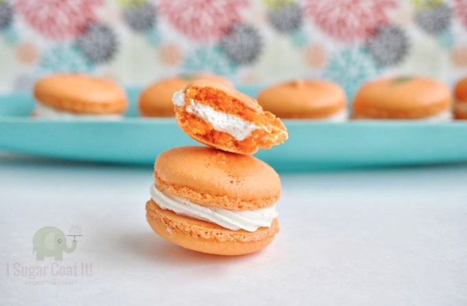 Orange blossom creme chantilly macarons