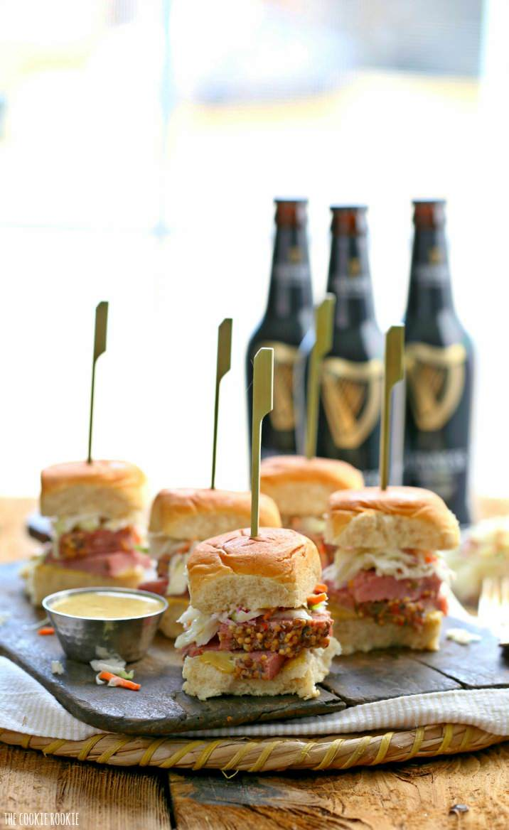 Slow cooker corned beef and cabbage sliders with guinness mustard