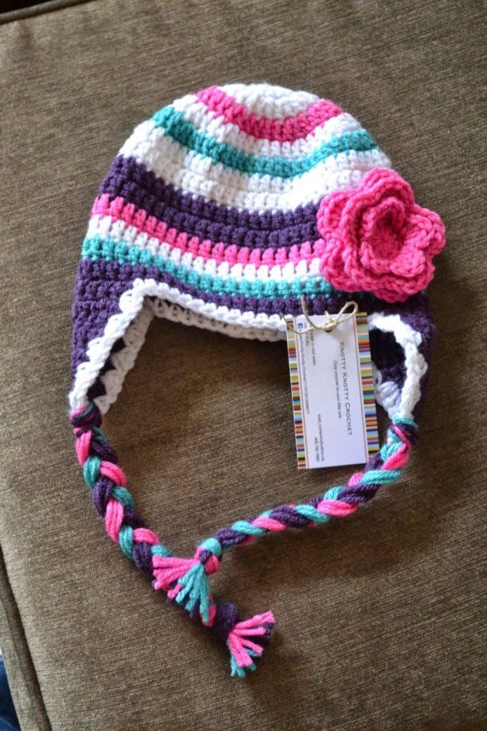 striped flower hat