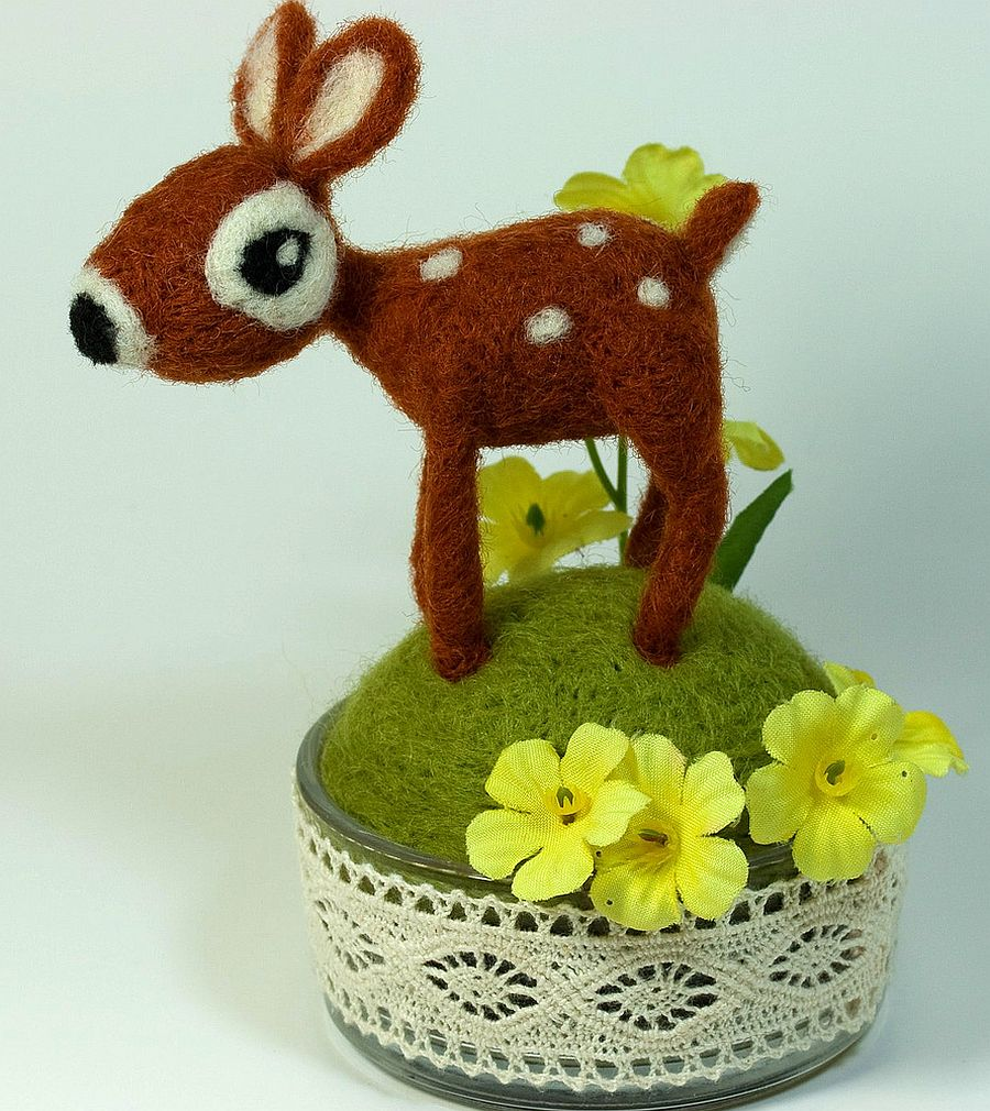 Cute needle felted fawn