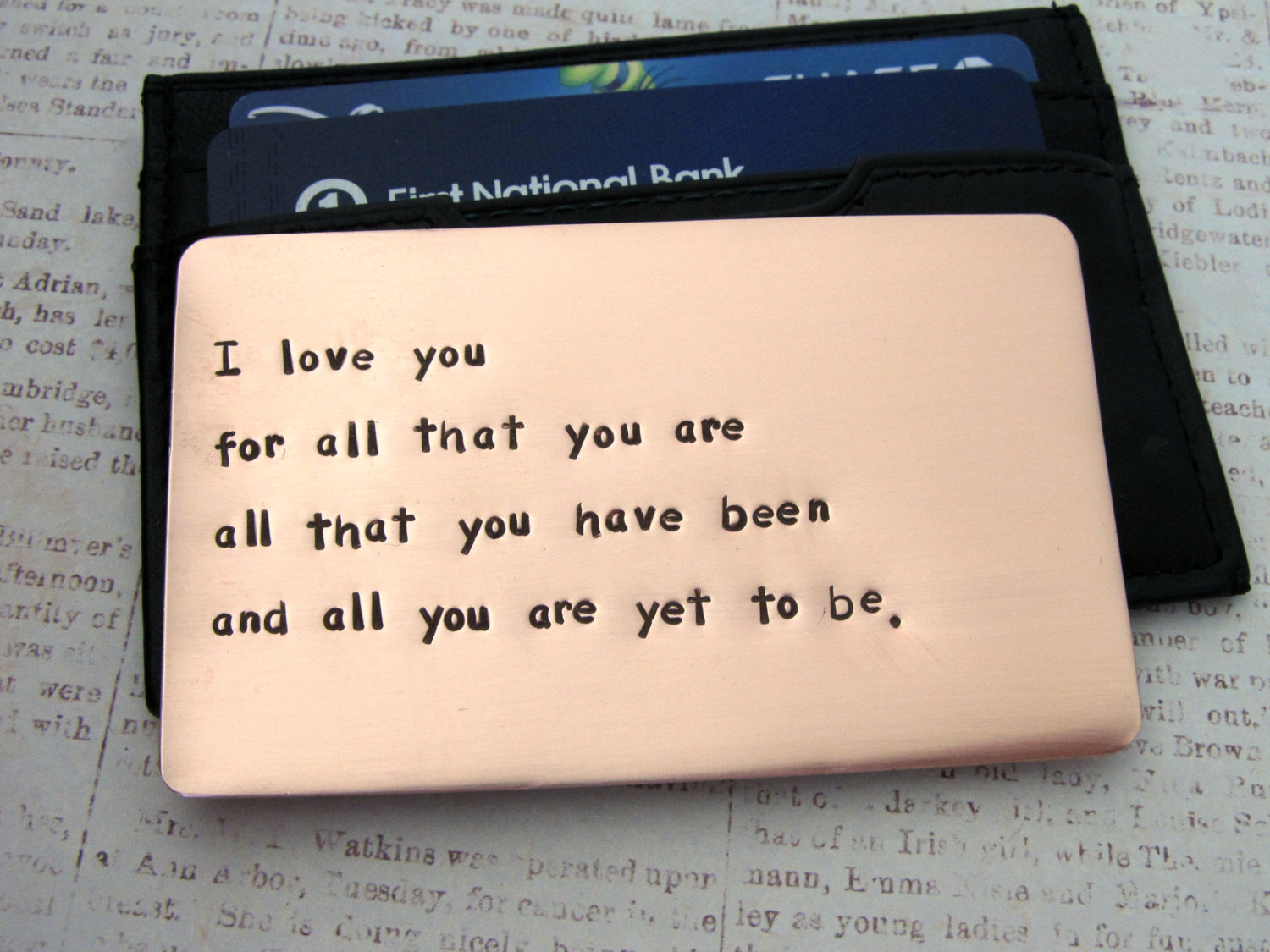 5 engraved wallet card