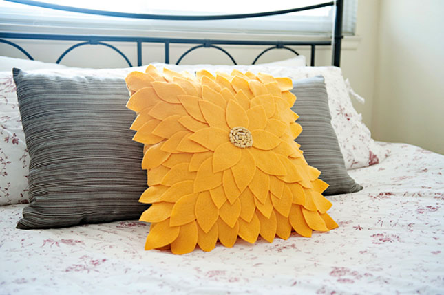 Felt flower pillow case