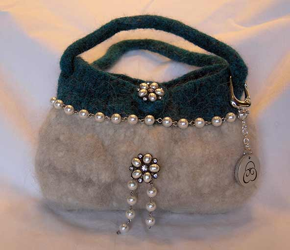 Felted and beaded car fur purse