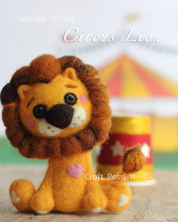 Felted circus lion