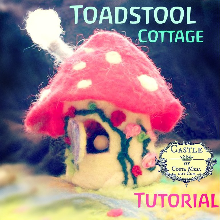 Felted toadstool cottage