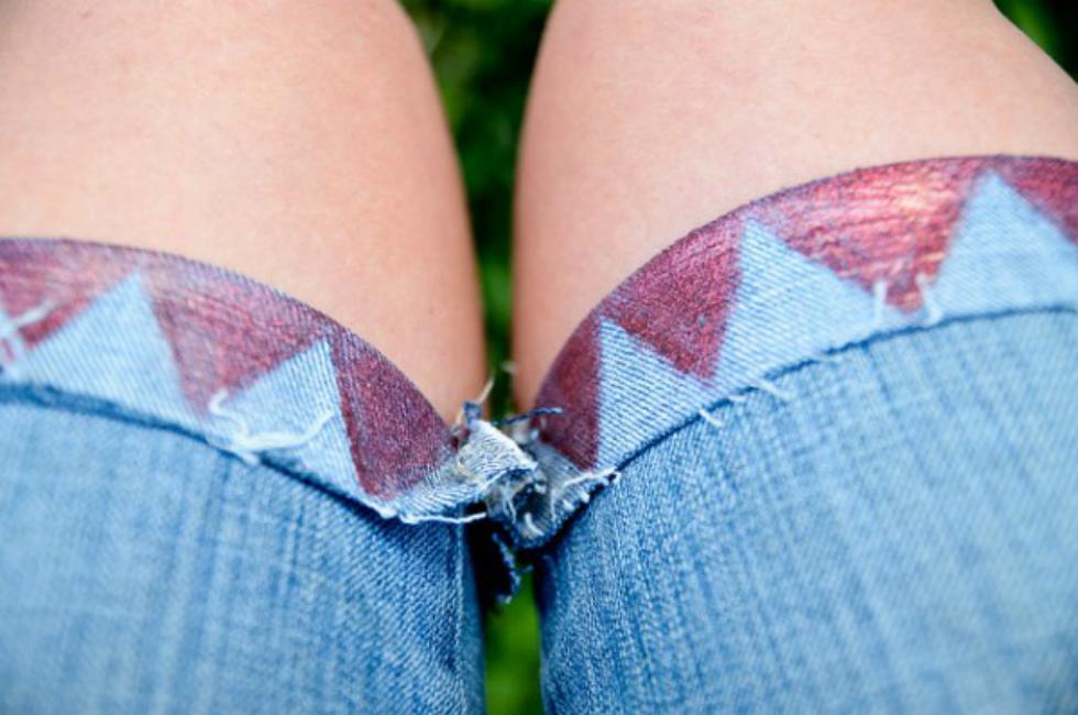 Geometric Denim Shorts