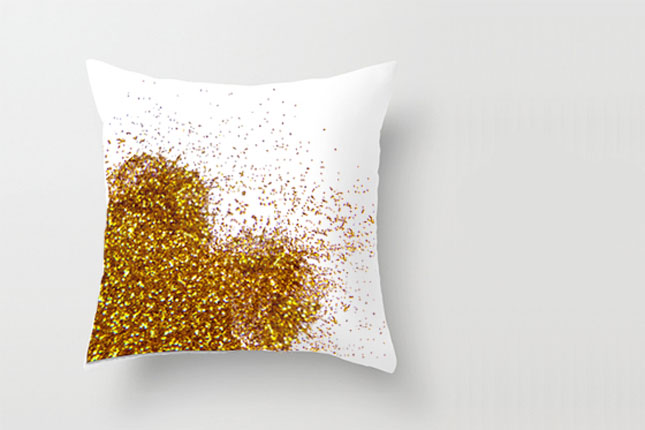 Glitter heart pillow case