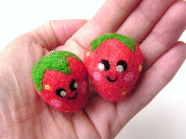 Felted happy strawberries