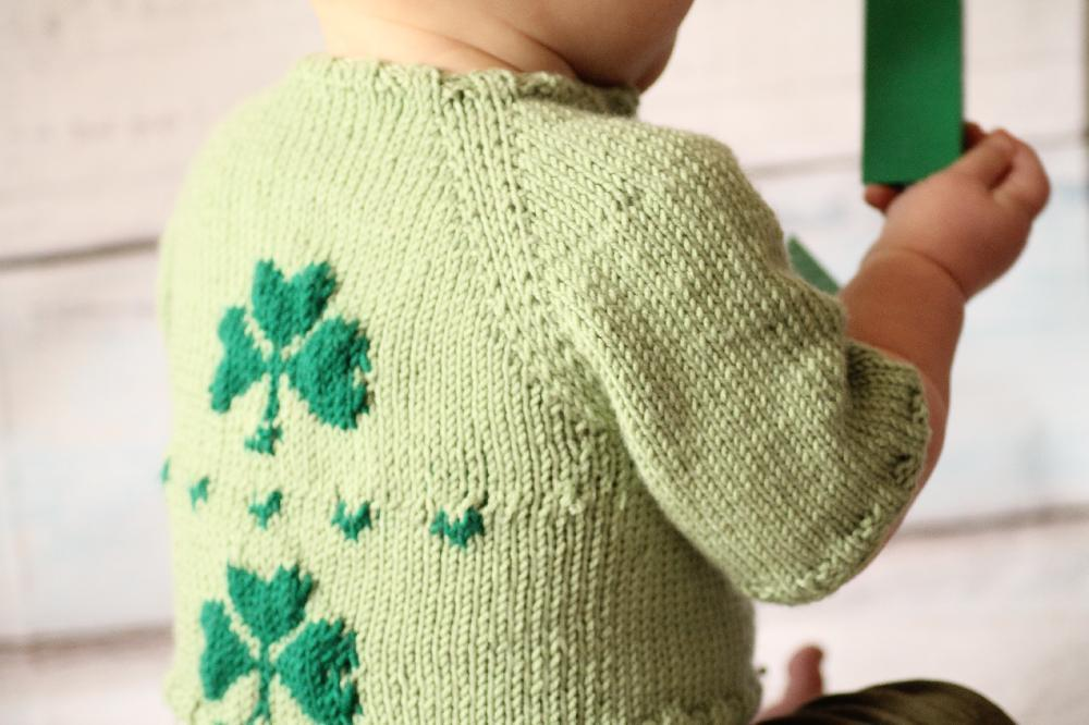 Knitted Shamrock Baby Cardigan