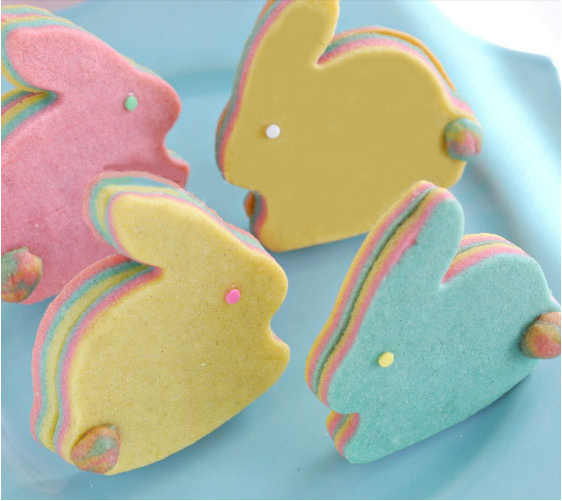 Layered pastel bunnies