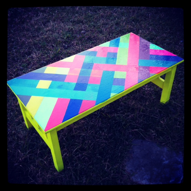 Neon stripe table