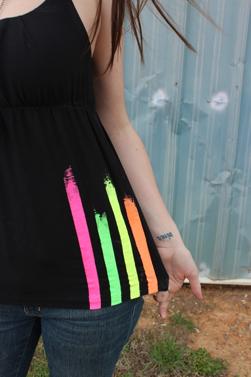 Neon stripe tank top